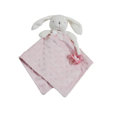 Doudou pour bébé King Bear à pois 3D avec attache sucette Lapin - Rose