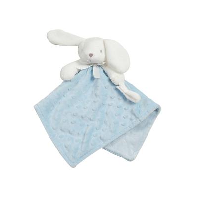 Doudou pour bébé King Bear à pois 3D avec attache sucette Lapin - Bleu