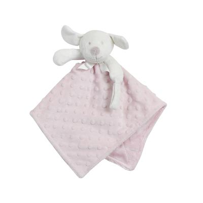 Doudou pour bébé King Bear à pois 3D avec attache sucette Chien - Rose