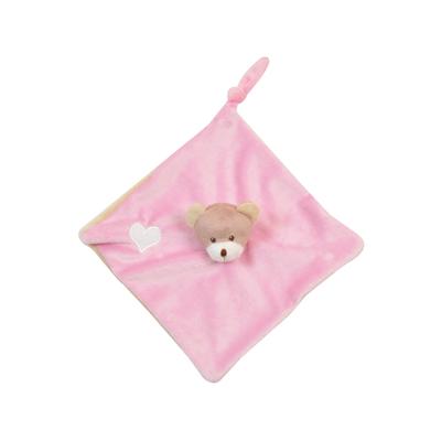 Doudou plat pour bébé King Bear Ours - Rose