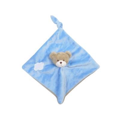 Doudou plat pour bébé King Bear Ours - Bleu