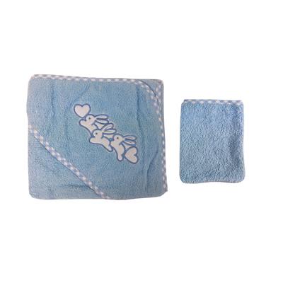 Parure de bain pour bébé bleu - Motif lapins coeur