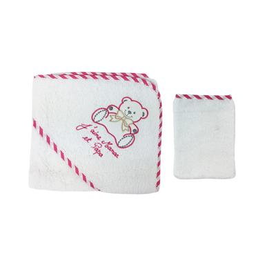 Parure de bain pour bébé blanc et fushia - Motif Nounours j'aime maman et papa