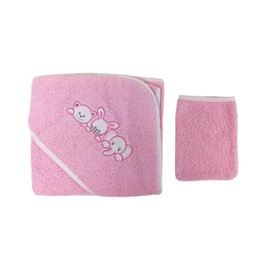 Parure de bain pour bébé rose - Motif Famille d'animaux