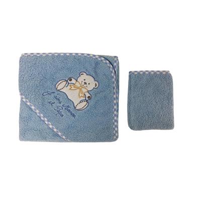 Parure de bain pour bébé bleu - Motif Nounours j'aime maman et papa