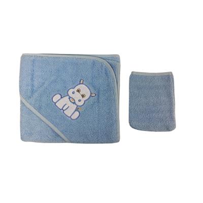 Parure de bain pour bébé bleu - Motif Hippopotame