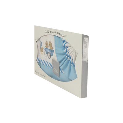 Coffret Parure de draps pour berceau, landau, couffin bleu ciel - Motif Poussins Chariot