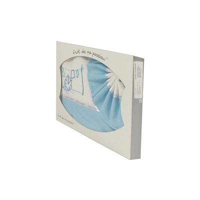 Coffret Parure de draps pour berceau, landau, couffin bleu ciel - Motif Coccinelle