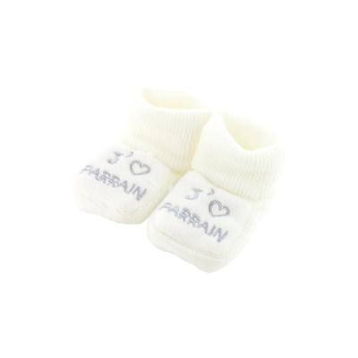 Chaussons pour bébé 0 à 3 Mois blanc - J'aime parrain
