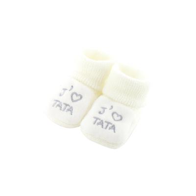 Chaussons pour bébé 0 à 3 Mois blanc - J'aime tata