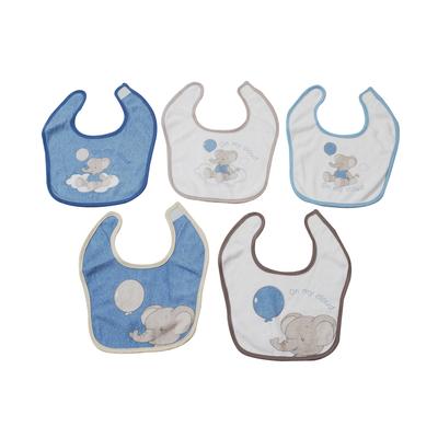 Lot de 5 bavoirs pour bébé King Bear bleu - Motif Eléphant