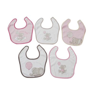 Lot de 5 bavoirs pour bébé King Bear rose - Motif Eléphant