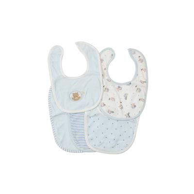 Lot de 5 bavoirs pour bébé King Bear bleu - Motif Nounours