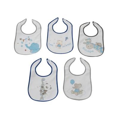 Lot de 5 bavoirs pour bébé King Bear gris et bleu - Motif Animaux