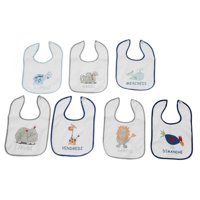 Lot de 7 bavoirs pour bébé King Bear bleu - Motifs jours de la semaine
