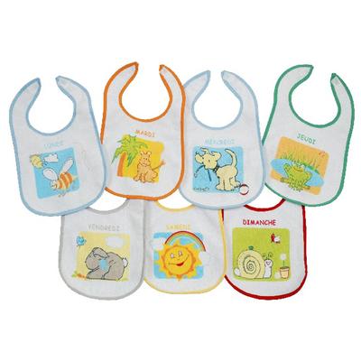 Lot de 7 bavoirs pour bébé King Bear doublure PEVA multicolore - Motifs jours de la semaine