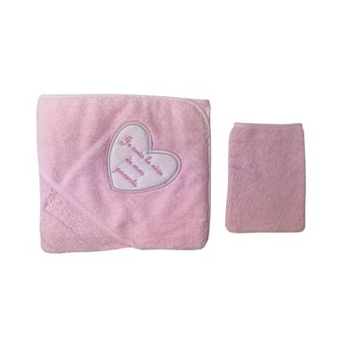 Parure de bain pour bébé rose - Je suis le rêve de mes parents