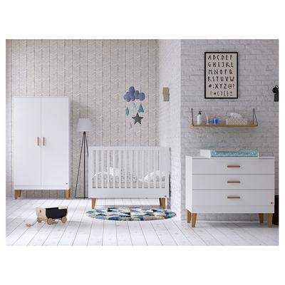 Chambre complète lit bébé 60x120 - commode à langer - armoire 2 portes Vox Lounge - Blanc