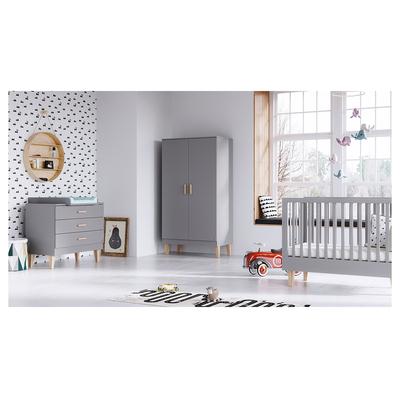 Chambre complète lit évolutif 70x140 - commode à langer - armoire 2 portes Vox Lounge - Gris