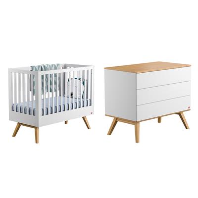 Lit bébé 60x120 et Commode à langer Vox Nature - Blanc