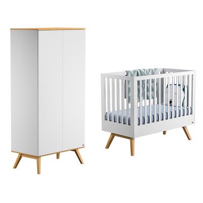 Lit bébé 60x120 et Armoire 2 portes Vox Nature - Blanc