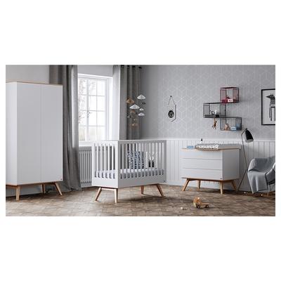 Chambre complète lit évolutif 70x140 - commode à langer - armoire 2 portes Vox Nature - Blanc