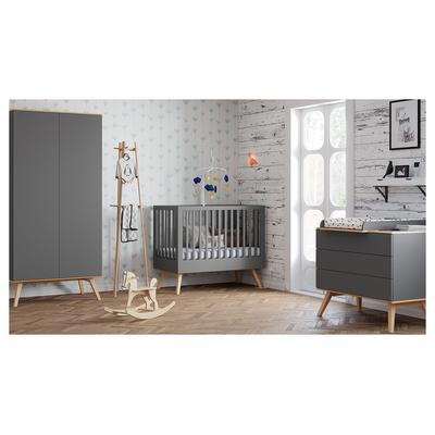 Chambre complète lit bébé 60x120 - commode à langer - armoire 2 portes Vox Nature - Gris