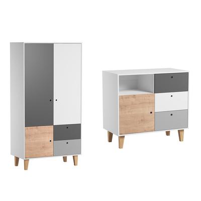 Commode à langer et Armoire 2 portes Vox Concept - Bois