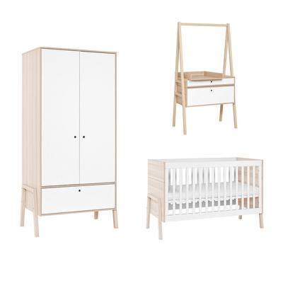 Chambre complète lit bébé 60x120 - commode évolutive - armoire 2 portes Vox Spot - Blanc
