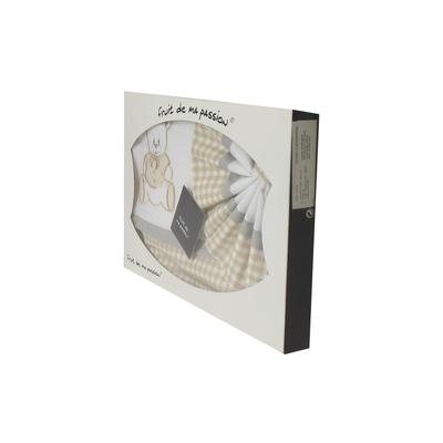 Coffret Parure de draps pour berceau, landau, couffin gris et beige à carreaux - Motif Nounours