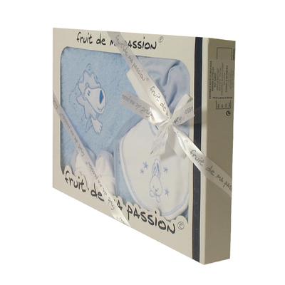 Coffret Sortie de bain bleu - Motif Lion