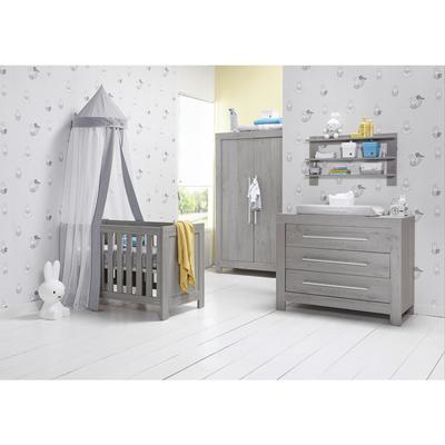 Chambre complète lit bébé 60x120 - commode à langer - armoire 2 portes Twf Florida - Gris