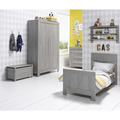 Chambre complète lit évolutif 70x140 - commode à langer - armoire 2 portes Twf Florida - Gris