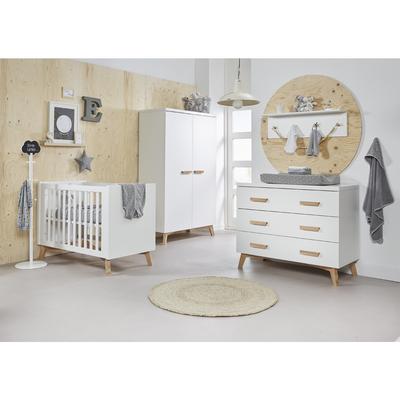 Chambre complète lit bébé 60x120 - commode à langer - armoire 2 portes Twf Mika - Blanc