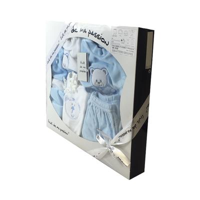 Coffret Ensemble bébé 7 pièces 3 à 6 Mois blanc et bleu - Motif Nounours