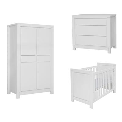 Chambre complète lit bébé 60x120 - commode à langer - armoire 2 portes Twf Malibu - Blanc