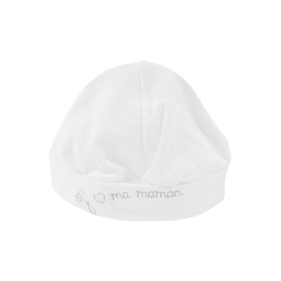 Bonnet pour bébé 0 à 6 Mois blanc et gris - J'aime ma maman