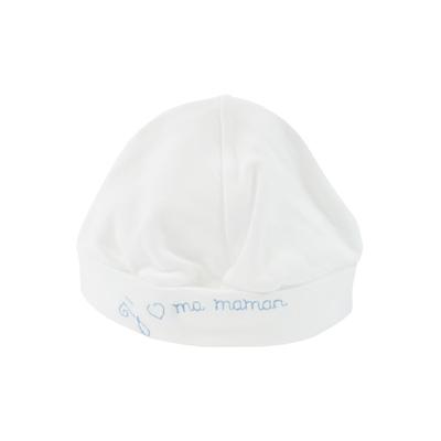 Bonnet pour bébé 0 à 6 Mois blanc et bleu - J'aime ma maman