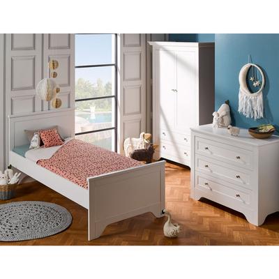 Chambre complète lit 90x190 - commode - armoire 2 portes Junior Provence Occitane - Blanc