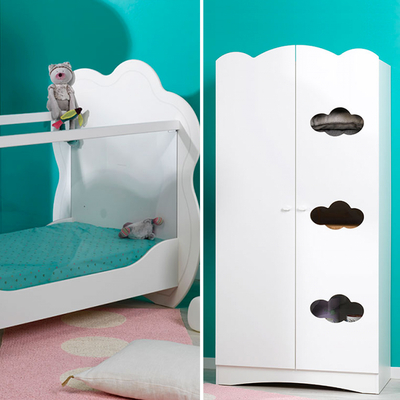 Lit bébé 60x120 et Armoire 2 portes Bébé Provence Altéa - Blanc