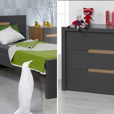 Lit 90x200 et Commode 3 tiroirs Junior Provence Milo - Gris