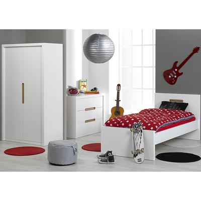Chambre complète lit 90x200 - commode 3 tiroirs - armoire 2 portes Junior Provence Milo - Blanc
