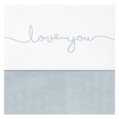 Drap Jollein 75x100cm Love you - Vert d'eau