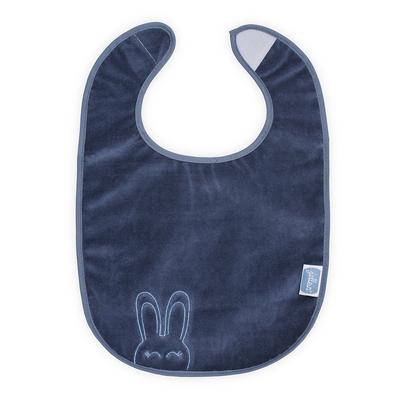 Bavoir plastifié velcro Jollein Sweet bunny - Bleu