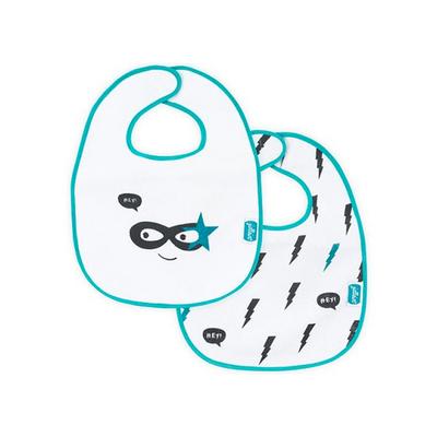 Lot de 2 bavoirs velcro Jollein Superhéros - Turquoise