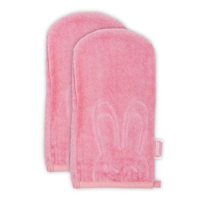 Lot de 2 gants de toilette Jollein 24x12cm Sweet bunny - Corail
