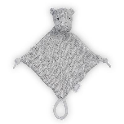 Doudou pour bébé avec attache sucette Jollein Soft Knit Hippo - Gris