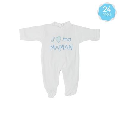 Babygro pour bébé 24 Mois blanc et bleu - J'aime ma maman