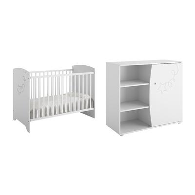 Lit bébé 60x120 et Commode à langer Galipette Adèle - Blanc