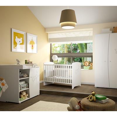 Chambre complète lit bébé 60x120 - commode à langer - armoire 2 portes Galipette Adèle - Blanc
